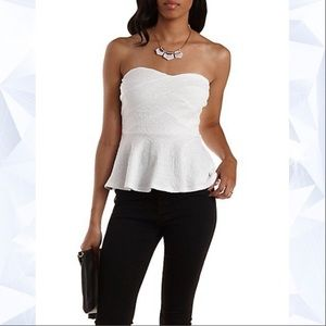 Charlotte Russe White Tribal Strapless Bandage Top